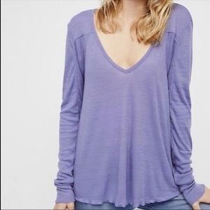 Free People Rock The Boat V-Neck Ribbed Tee
